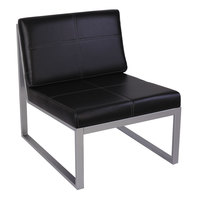 Alera ALERL8319CS Ispara Series Black / Silver Leather Armless Cube Chair