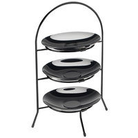 Cal-Mil 977-10-13 Iron Three Tier Black Wire Bowl and Plate Display - 11 3/4 inch x 11 3/4 inch x 20 inch