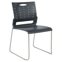 Alera ALESC6546 Continental Series Charcoal Gray Plastic Perforated Back Stacking Chair - 4/Case