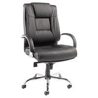 Alera ALERV44LS10C Ravino Big and Tall Series Black High-Back Swivel / Tilt Leather Chair