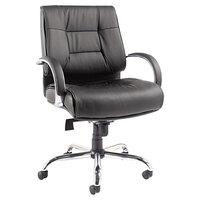 Alera ALERV45LS10C Ravino Big and Tall Series Black Mid-Back Swivel / Tilt Leather Chair