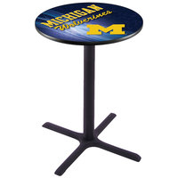 Holland Bar Stool L211B4228MICHUN-D2 28 inch Round University of Michigan Bar Height Pub Table