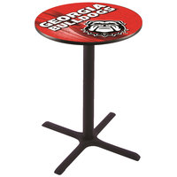 Holland Bar Stool L211B4228GA-DOG-D2 28 inch Round University of Georgia Bar Height Pub Table