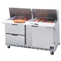 Beverage Air SPED60-18M-2 60 inch 1 Door 2 Drawer Mega Top Refrigerated Sandwich Prep Table