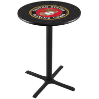 Holland Bar Stool L211B3628MARINE 28 inch Round United States Marine Corps Pub Table