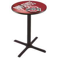 Holland Bar Stool L211B4228OHIOST-D2 28 inch Round Ohio State University Bar Height Pub Table