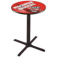 Holland Bar Stool L211B3628WI-BDG-D2 28 inch Round University of Wisconsin Pub Table
