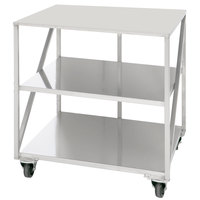 Doyon PIZ6B 47 inch x 35 inch Mobile Stainless Steel Equipment Stand with 2 Undershelves