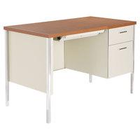 Alera ALESD4524PC 45 1/4 inch x 24 inch Cherry and Putty Single Pedestal Steel Desk