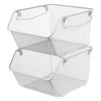 Alera ALESW258SV 15 1/4 inch x 12 inch x 8 5/8 inch Silver Wire Mesh Stacking Shelving Bin - 2/Pack