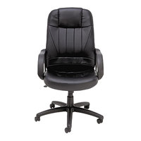 Alera ALESP41LS10B Sparis High-Back Black Leather Office Chair with Fixed Arms and Black Swivel Nylon Base