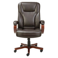 Alera ALETS4159W Transitional Chocolate Marble Leather Office Chair with Fixed Arms and Walnut Wood Swivel Base