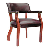 Alera ALETD4336 Traditional Oxblood Vinyl Arm Chair