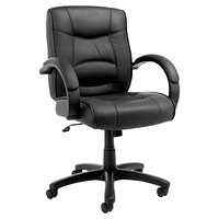 Alera ALESR42LS10B Strada Mid-Back Black Leather Office Chair with Fixed Arms and Black Swivel Nylon Base