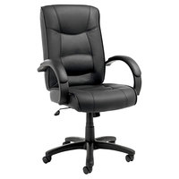 Alera ALESR41LS10B Strada High-Back Black Leather Office Chair with Fixed Arms and Black Swivel Nylon Base