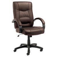 Alera ALESR41LS50B Strada High-Back Brown Leather Office Chair with Fixed Arms and Black Swivel Nylon Base