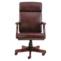 Alera ALETD4136 Traditional High-Back Oxblood Vinyl Office Chair with Fixed Arms and Mahogany Swivel Wood Base