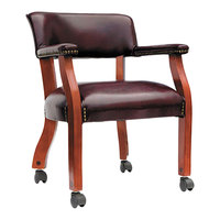 Alera ALETDC4336 Traditional Oxblood Vinyl Arm Chair with Casters
