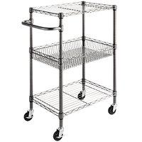 Alera ALESW342416BA 28 inch x 16 inch x 39 inch Black Anthracite Three Shelf Wire Rolling Cart