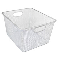 Alera ALESW248SV 14 inch x 12 inch x 7 3/4 inch Silver Wire Mesh Nesting Shelving Basket - 2/Pack