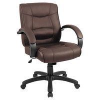 Alera ALESR42LS50B Strada Mid-Back Brown Leather Office Chair with Fixed Arms and Black Swivel Nylon Base