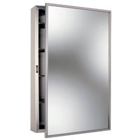 Bobrick B-299 Stainless Steel Surface Mounted Mirrored Medicine Cabinet with Satin Finish