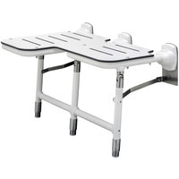 Bobrick B-918116R White Right-Handed Bariatric Folding Shower Seat with Legs
