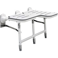 Bobrick B-918116L White Left-Handed Bariatric Folding Shower Seat with Legs