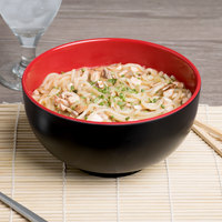 Elite Global Solutions JW542T Karma 1.5 Qt. Black and Red Round Two-Tone Melamine Bowl - 6/Case