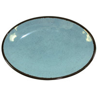 Elite Global Solutions D8512OVM Mojave Vintage California 12 1/2 inch x 8 1/2 inch Cameo Blue Oval Crackle Plate - 6/Case