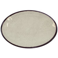 Elite Global Solutions D8512OVM Mojave Vintage California 12 1/2 inch x 8 1/2 inch x 1 inch Vanilla Oval Crackle Plate - 6/Case