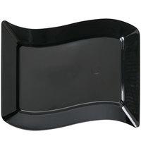 Fineline Wavetrends 1405-BK 5 1/2 inch x 7 1/2 inch Black Plastic Dessert Plate - 10/Pack