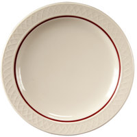 Homer Laughlin 1492-0347 Gothic Maroon Jade 9 inch Narrow Rim Off White Plate - 24/Case