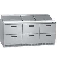 Delfield D4472N-30M 72 inch 6 Drawer Mega Top Refrigerated Sandwich Prep Table