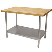 Advance Tabco H2G-243 Wood Top Work Table with Galvanized Base and Undershelf - 24 inch x 36 inch