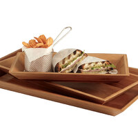 American Metalcraft BAM18 Rectangular Bamboo Tray - 18 inch x 8 1/4 inch