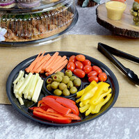 Fineline D61600PP.BK ReForm 16 inch Black 6 Compartment Plastic Catering Tray - 25/Case