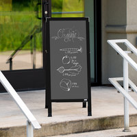 Aarco BA-35SS 42 inch x 18 inch Black Aluminum A-Frame Sign Board with Slate Gray Write-On Porcelain Chalk Board