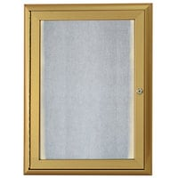 Aarco 24 inch x 18 inch Gold Enclosed Aluminum Indoor / Outdoor Bulletin Board with Waterfall Style Frame and LED Lighting