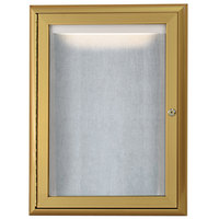 Aarco LOWFC2418G 24 inch x 18 inch Gold Enclosed Aluminum Indoor / Outdoor Bulletin Board with Waterfall Style Frame and LED Lighting