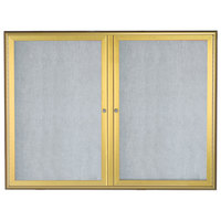 Aarco OWFC3648G 36 inch x 48 inch Gold Enclosed Aluminum Indoor / Outdoor Bulletin Board with Waterfall Style Frame