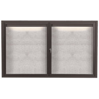 Aarco LODCC3660RBA 36 inch x 60 inch Bronze Enclosed Aluminum Indoor / Outdoor Bulletin Board with LED Lighting