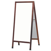 Aarco 68 inch x 30 inch Cherry A-Frame Sign Board with White Write-On Melamine Marker Board