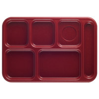 Cambro 10146CW416 Camwear 10 inch x 14 1/2 inch Cranberry 6 Compartment Serving Tray - 24/Case