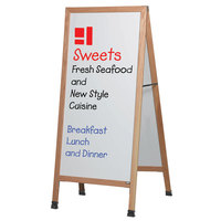 Aarco LA5SW 68 inch x 30 inch Oak A-Frame Sign Board with White Write-On Porcelain Marker Board
