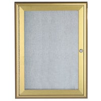 Aarco OWFC3624G 36 inch x 24 inch Gold Enclosed Aluminum Indoor / Outdoor Bulletin Board with Waterfall Style Frame