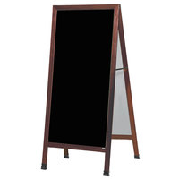 Aarco MLA1P 68 inch x 30 inch Cherry A-Frame Sign Board with Black Write-On Acrylic Marker Board