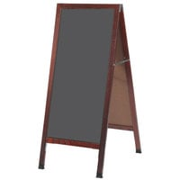 Aarco MA-35SS 42 inch x 18 inch Cherry A-Frame Sign Board with Slate Gray Write-On Porcelain Chalk Board