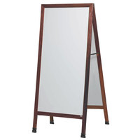 Aarco 68 inch x 30 inch Cherry A-Frame Sign Board with White Write-On Porcelain Marker Board