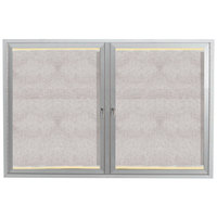 Aarco 36 inch x 48 inch Silver Enclosed Aluminum Indoor / Outdoor Bulletin Board with LED Lighting